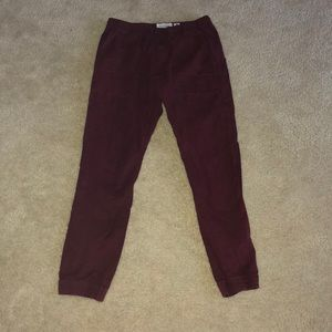Men's Abercrombie and Fitch Maroon Joggers